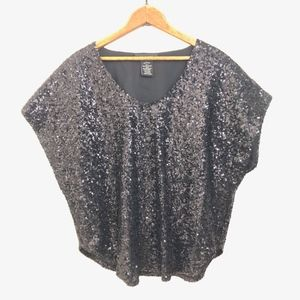 MM Couture by Miss Me Black Sequin Bat Wing Top